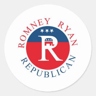Republicano de Romney Ryan - 3R's Etiquetas Redondas