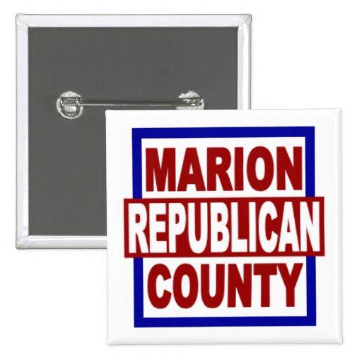 """Republicano del condado de Marion 2"""" x 2"""" botón cu Pins"""
