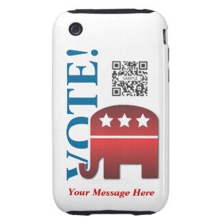 republicano del elefante de la plantilla del caso tough iPhone 3 carcasas