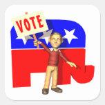 Republicano del voto calcomanía cuadradas