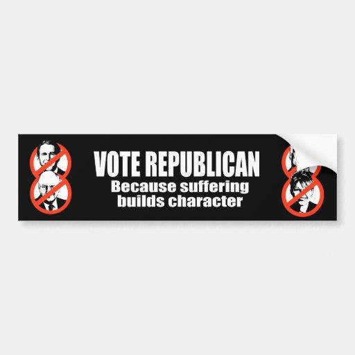 Republicano del voto - porque el sufrimiento const pegatina para auto