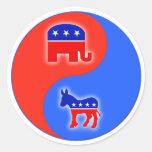 Republicano/Demócrata Yin/Yang Etiquetas Redondas