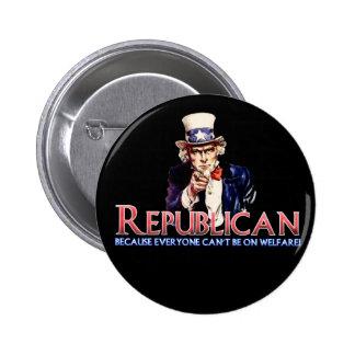 Republicano, no en bienestar pin redondo de 2 pulgadas