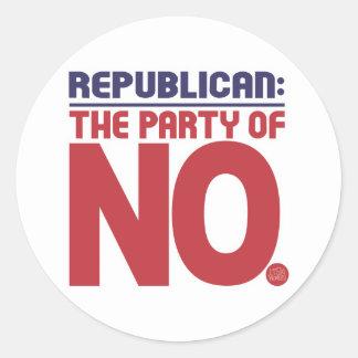 Republicano: ¡Parte de NO! Pegatina Redonda