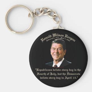 Republicanos de Reagan contra Demócratas Llavero Redondo Tipo Pin