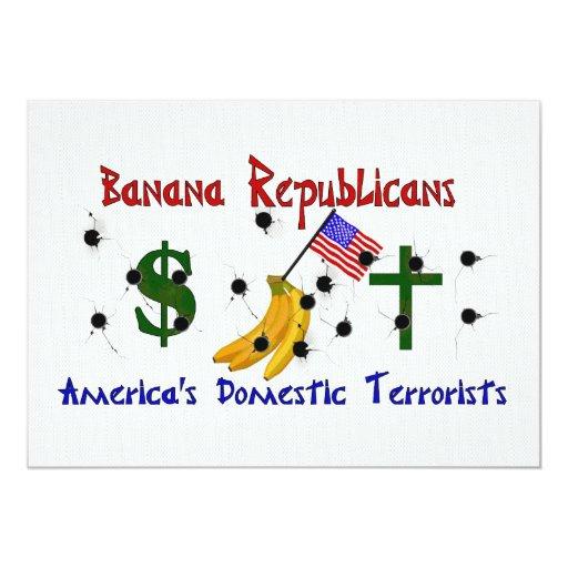 """Republicanos del plátano invitación 5"""" x 7"""""""