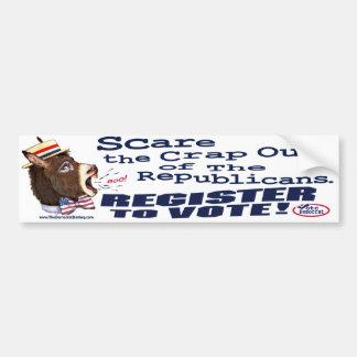Republicanos del susto, registro para votar a la p pegatina de parachoque