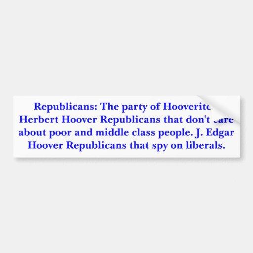 Republicanos: El fiesta de Hooverites. Pegatina De Parachoque