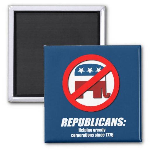 Republicanos - Greedy de ayuda Corporations Imán De Frigorifico
