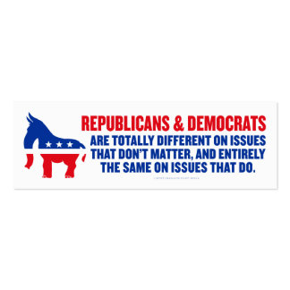Republicans and Democrats Cards Double-Sided Mini Business Cards (Pack Of 20)