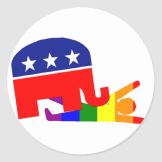 """""""Republicans And Gays"""" Classic Round Sticker"""