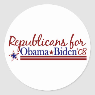 Republicans for Obama Biden Classic Round Sticker