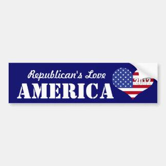 Republican's Love America-U.S. Heart Shaped Flag Bumper Sticker