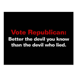 Republicans - the devil you know postcard