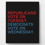 REPUBLICANS VOTE ON TUESDAY DISPLAY PLAQUES