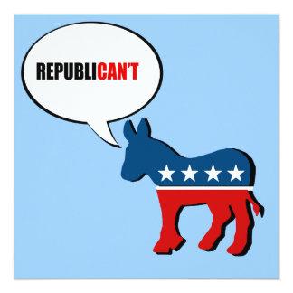 """Republican'ts Invitación 5.25"""" X 5.25"""""""