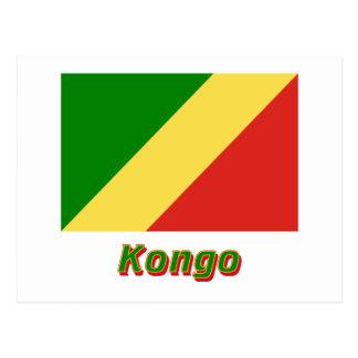 Republik Kongo Flagge mit Namen Postcard