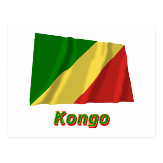 Republik Kongo Fliegende Flagge mit Namen Postcard