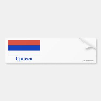 Republika Srpska Flag with Name in Serbian Car Bumper Sticker