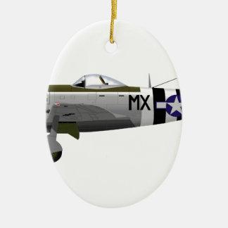 Republilc P-47D Thunderbolt 226671 Double-Sided Oval Ceramic Christmas Ornament