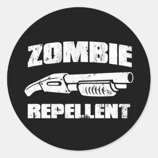 repulsivo del zombi - la escopeta etiqueta redonda