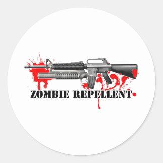 Repulsivo del zombi pegatina redonda