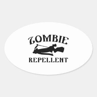 Repulsivo del zombi pegatina ovalada