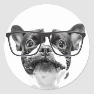 Reputable French Bulldog with Glasses Classic Round Sticker