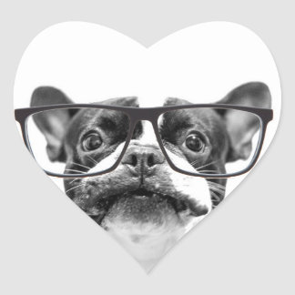Reputable French Bulldog with Glasses Heart Sticker