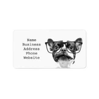 Reputable French Bulldog with Glasses Label