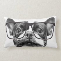 Reputable French Bulldog with Glasses Lumbar Pillow