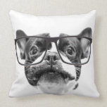 Reputable French Bulldog with Glasses Throw Pillows