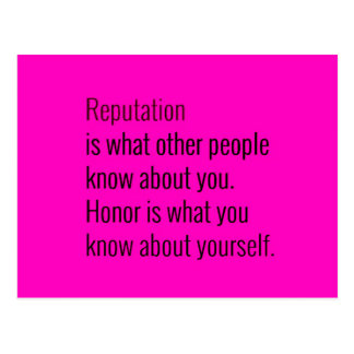 REPUTATION IS WHAT OTHER PEOPLE KNOW ABOUT YOU HON POSTCARD