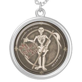 requiem skeleton mourning round pendant necklace