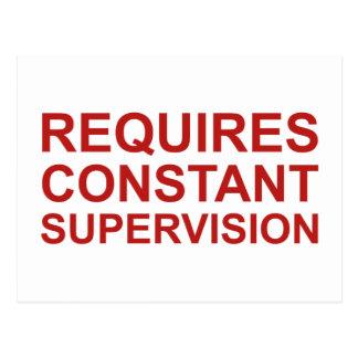 Requires Constant Supervision Postcard