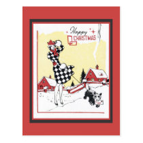 Rero Christmas Woman in Black Checks with Dog Postcard