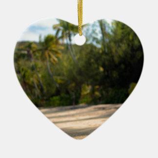 Resaca apacible en una playa del Fijian Adorno De Cerámica En Forma De Corazón