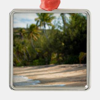 Resaca apacible en una playa del Fijian Adorno Cuadrado Plateado