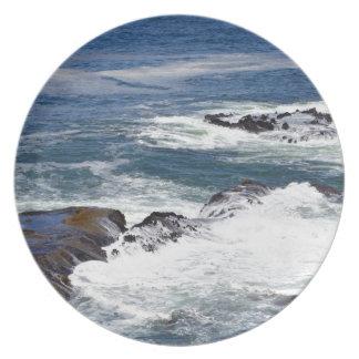Resaca azul del Océano Pacífico Plato Para Fiesta