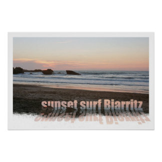 resaca Biarritz de la puesta del sol Póster