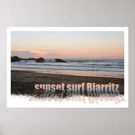 resaca Biarritz de la puesta del sol Posters