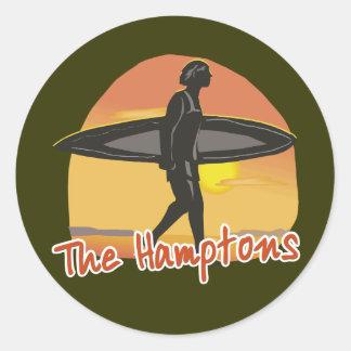 Resaca de Hamptons Pegatina Redonda