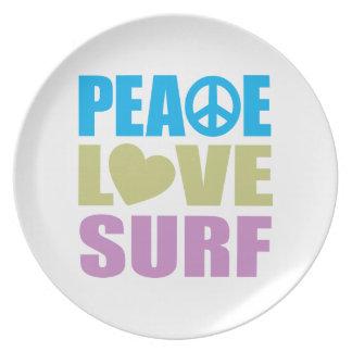 Resaca del amor de la paz platos de comidas