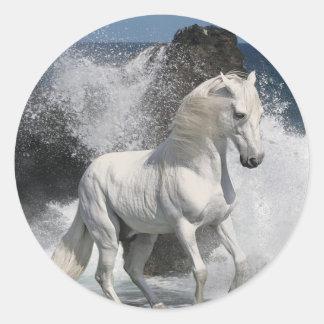 Resaca del caballo blanco pegatinas redondas