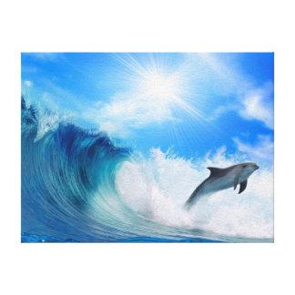 Resaca del delfín impresión en lona