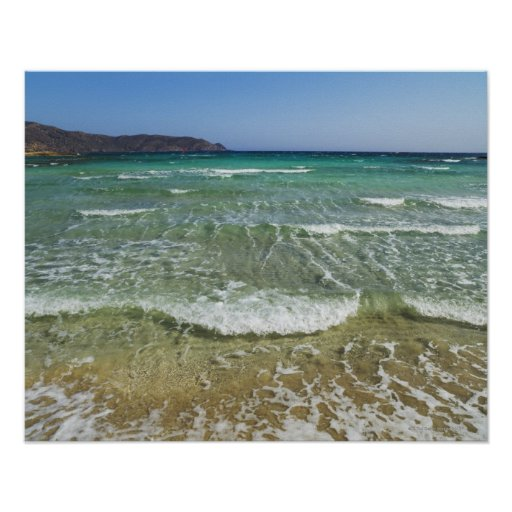 Resaca del océano en la playa de Elafonisi - Europ Posters