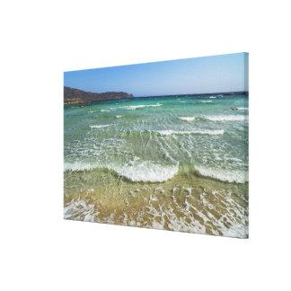 Resaca del océano en la playa de Elafonisi - Impresión En Lienzo
