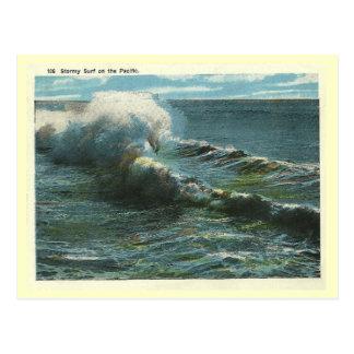 Resaca del Pacífico del vintage Postal