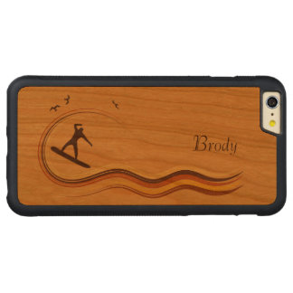 Resaca encima del iPhone de madera del grano de la