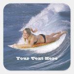 ¡Resaca para arriba!  ¡Coja la onda! Calcomanías Cuadradas Personalizadas